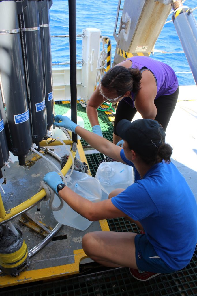 Barbra Ferrell (University of Delaware) and Maddy Lahm (UMCES) collect samples from CTD.